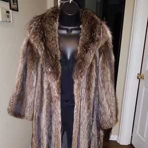 Genuine Full Length Raccoon Fur Coat